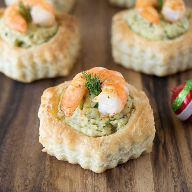 appetizers, canapes, christmas, dessert, holiday, hors d'oeuvres, partyfood, pastry, shrimp