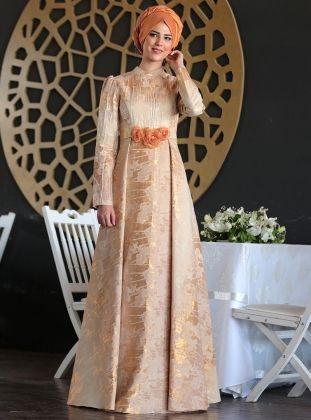 Guzide Brocade Evening Dress - Copper - Nurkombin