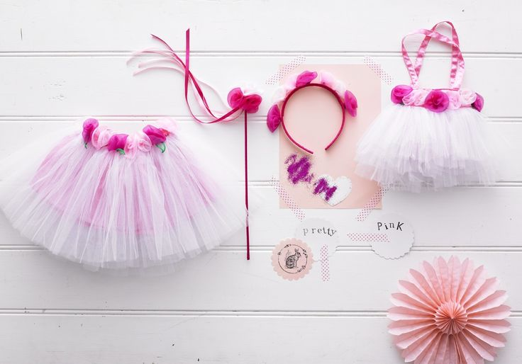 Garden Fairy - Garden Fairy tulle skirt with organza flowers and pink satin underskirt (age 2-5), Garden Fairy satin headband with organza flowers, Garden Fairy tulle bag with organza flowers, Garden Fairy Blossom wand