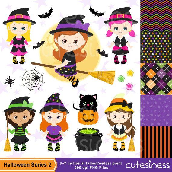 HALLOWEEN Digital Clipart Halloween Witch Clipart por Cutesiness
