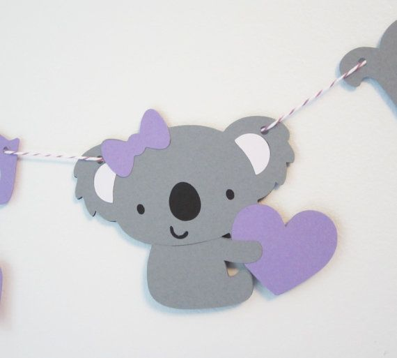 Welcome Baby  Purple and Gray Baby Koala Banner  by JessMadeThis