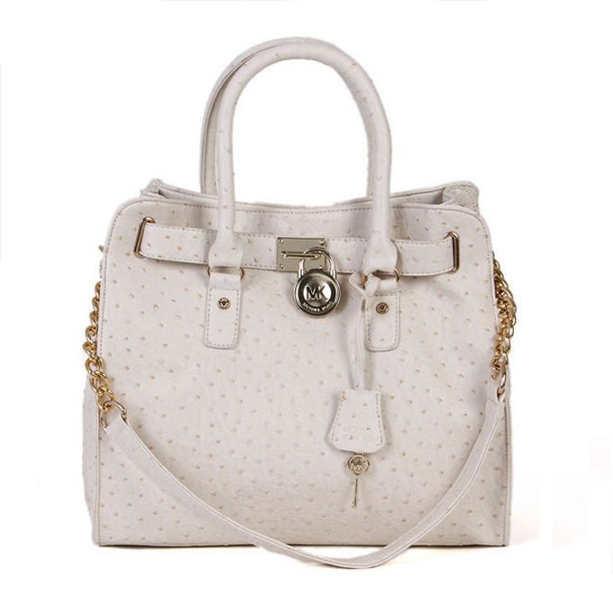 Michael Kors Ostrich-Embossed Large White Totes Outlet