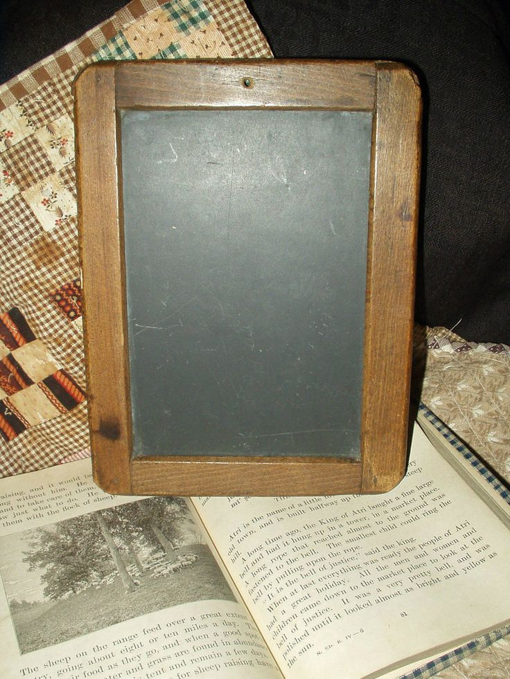 Antique 1800 Children Primitive Wooden Frame School Writing Slate Board $55.00 - The Gatherings Antique Vintage