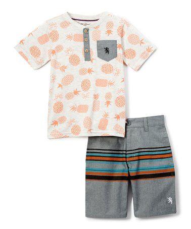 5660cbb51 White & Orange Pineapple Henley & Stripe Shorts - Toddler & Boys #zulily  #zulilyfinds