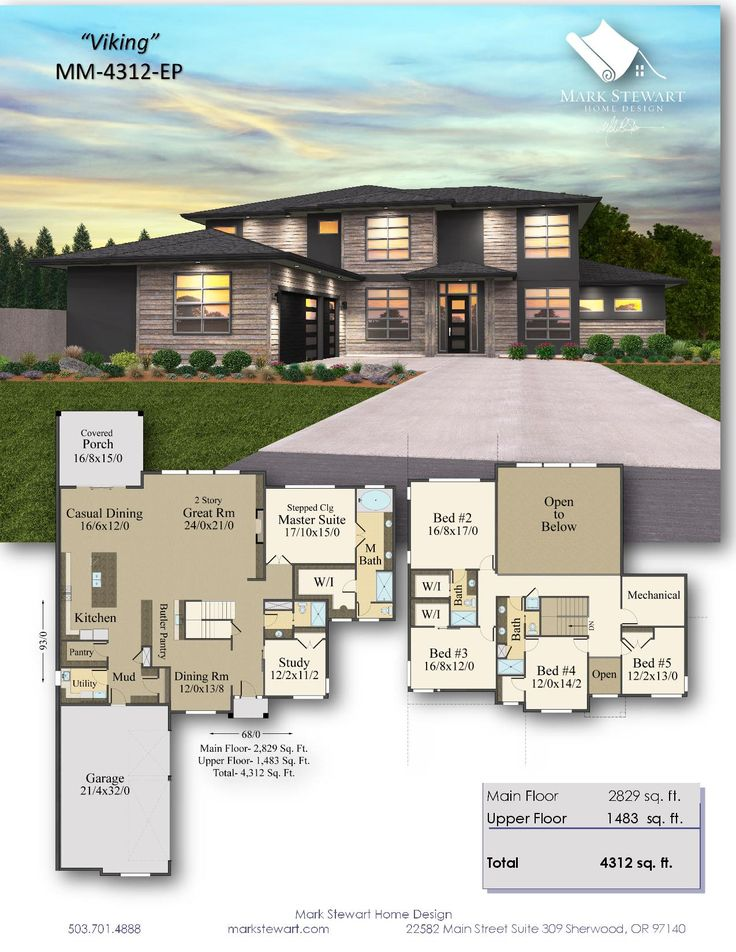 Viking House Plan 2 Story Modern Home Design With 3 Car Garage Modern House Floor Plans House Layout Plans Contemporary House Exterior