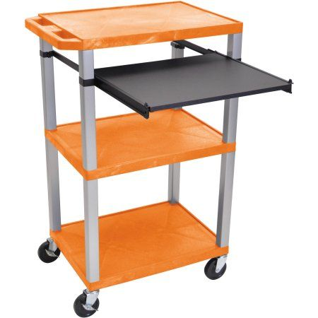H. Wilson Tuffy 3-Shelf A/V Cart with Electric, Black Front Pullout Shelf, Orange Shelves and Nickel Legs