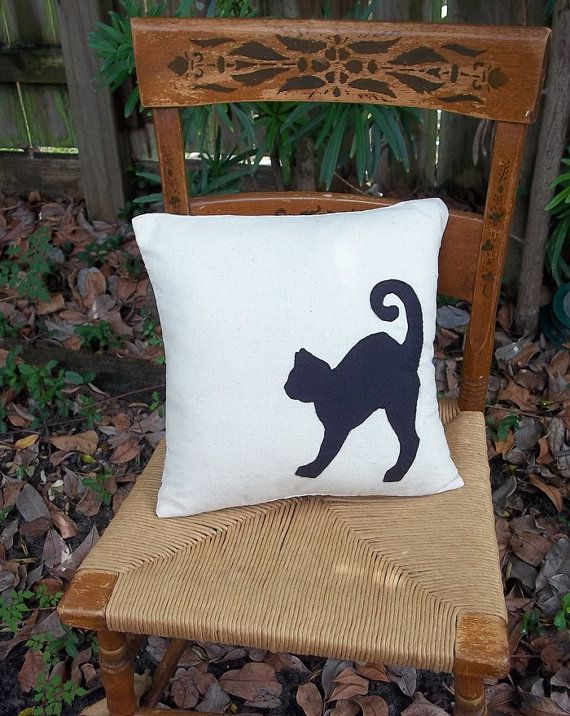 Black Cat Appliqued Throw Pillow Cover 14 inch on Etsy, Sold