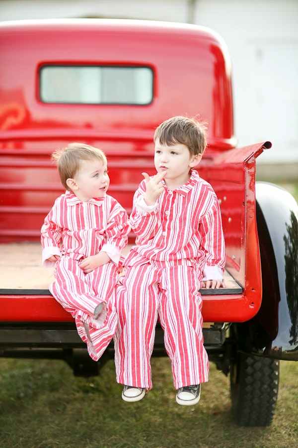 deep thinker red stripes holiday garnet hill vintage truck  photo credit: rodeo & co. photography: Christmas Card