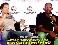 on your left boob. Sebastian knows what Tumblr is and poor Anthony is behind the info, LOL.