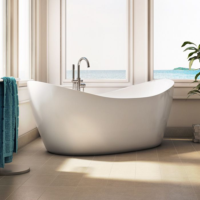 Alcove's elegant curved freestanding bathtub for bathroom with ocean view / Eidel Weiss Collection