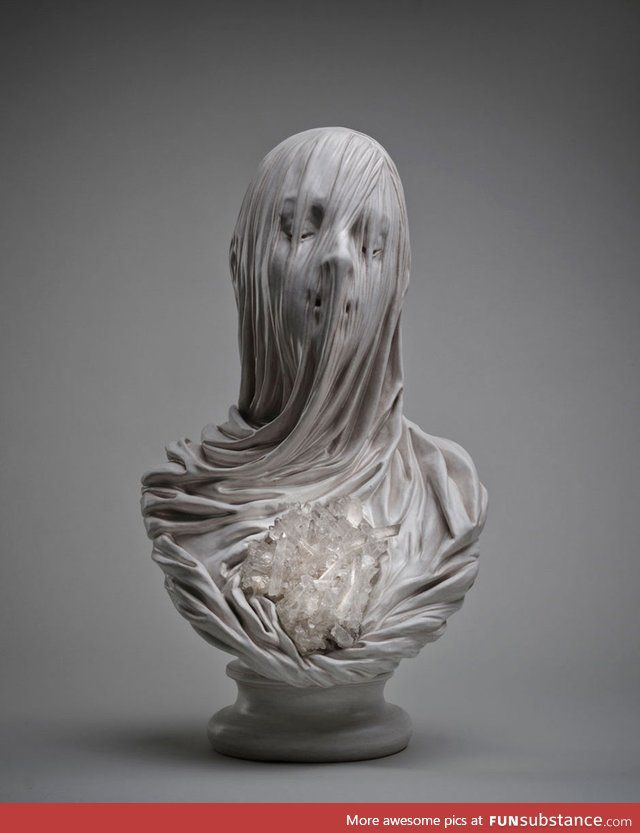 Ghostly Veiled Souls Carved Out of Solid Marble by Artist Livio Scarpella