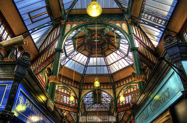 Leeds Kirkgate Market is a market in Leeds, West Yorkshire, England located on Vicar Lane. It is the largest covered market in Europe… I wonder how many people go shopping to Kirkgate Market in Leeds and  never look up at the ornate ironwork and mouldings that decorate this  fine building. By Osgoldcross Photohraphy on Flickr