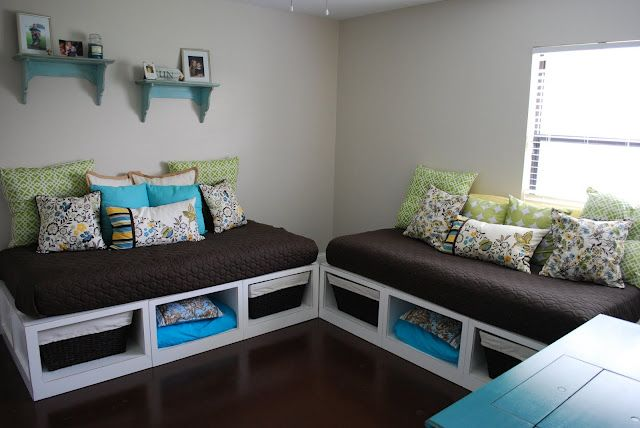 play room: great upcycle for the two crib mattresses I have on hand.