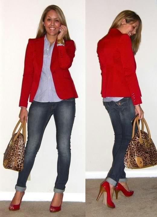 Red blazer..coordinate with nude heels | Red Jacket ...