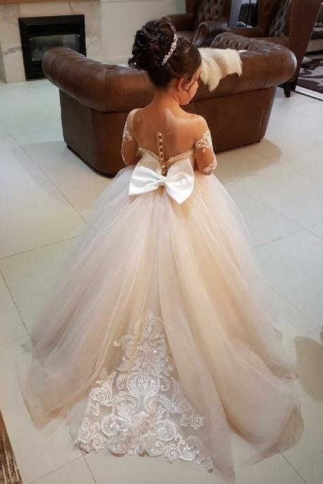 F31 Flower Girl Dress,Long Sleeve Flower Girl Dresses,Birthday Party Dress,Girls Pageant Gown,Handmade Flower Girl dress
