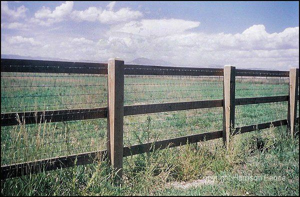 "Rail Fence with V-Mesh WireThis fence uses pressure treated 6""x6"" posts and three 2""x6"" rails. The V-Mesh wire is manufactured for livestock and boasts strength and durability. It's rumored that the V-mesh manufacturing machine in Colorado Springs is over 100 years old and still going strong!"