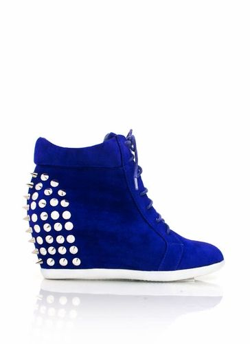 studded lace-up wedge sneakers