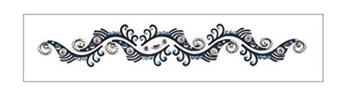 """Tribal Swirls Gemstone Temporary Tattoo. 1"""" x 5.5"""" tribal swirl gemstone design. Lasts 1-2 days even with swimming and bathing!. Easy to put on and easy to remove!. Skin safe using FDA approved ingredients."""