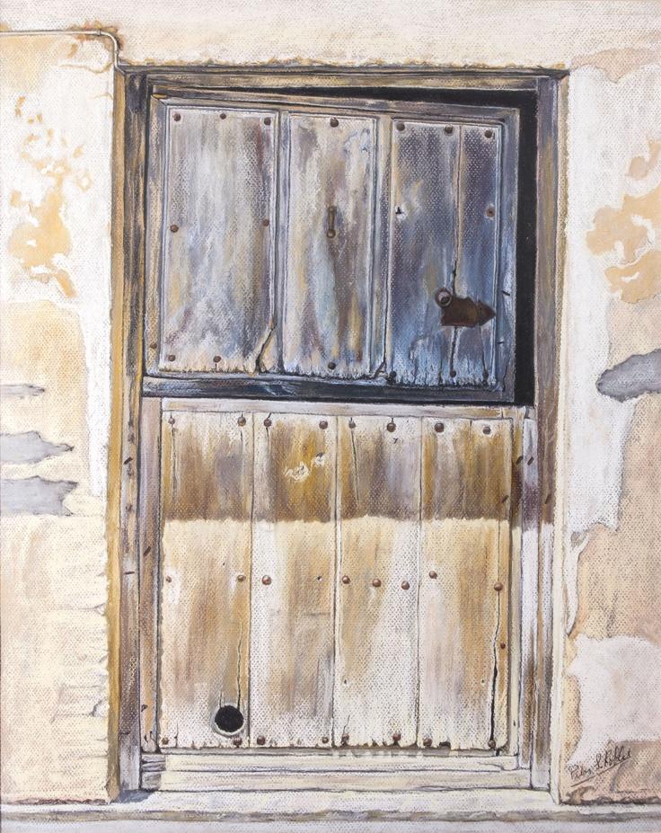 Pilar S. Robles. Puerta castellana de dos hojas. Pastel. 77x64