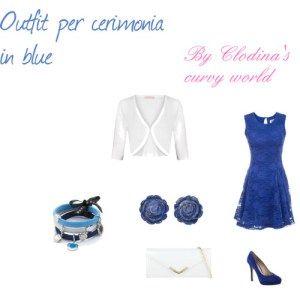 outfit vestito blu cerimonia