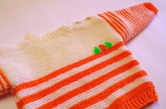 Baby sweater & hat set, orange, 2 to 4 months