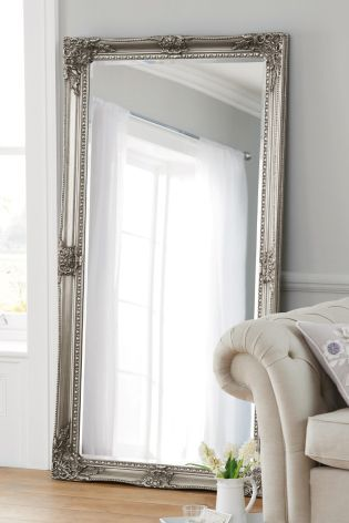 Charlotte Pewter Floor Mirror from Next.  Hallway mirror!  This mirror has a classic and timeless design which fits in middle sized as large apartments. An idea is to put this one on against the short wall close to the hallway wardrobe.