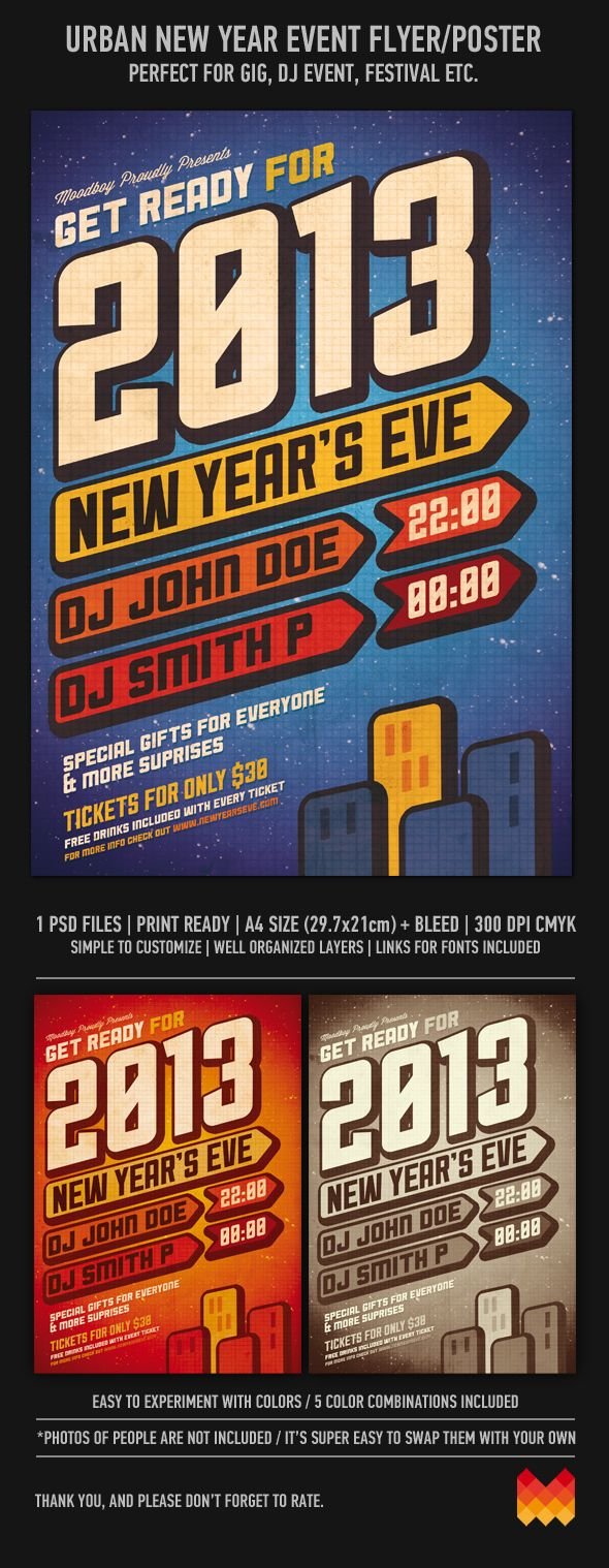 1 color poster design - New Years Eve Party Poster Hi Res Psd Available By Moodboy Via Behance