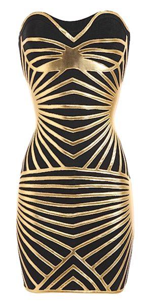 Tayla Black & Gold Bandage Dress from RawGlitter.com