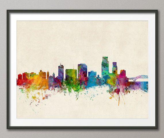 Corpus Christie Texas Skyline Cityscape Art Print 1002 by artPause, £12.99