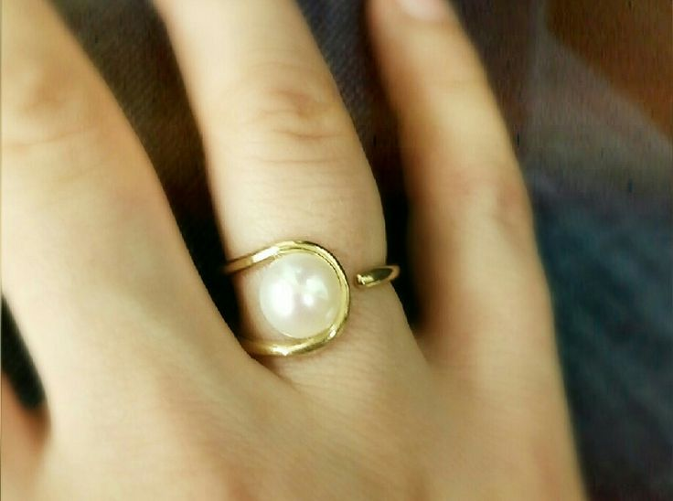 gold fashion ring with pearl 14k
