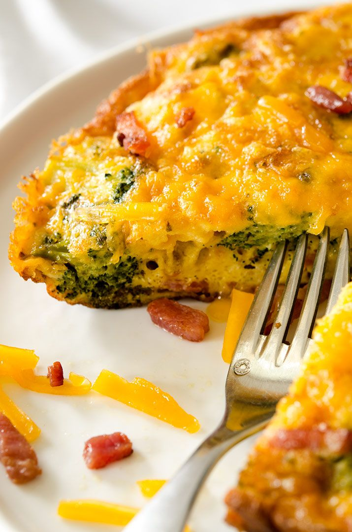 "As days turn colder, we look for warm breakfast recipes to get us going. This healthy bacon frittata needs an 8 or 9"" skillet to cook and to split perfectly into two portions. A good quality egg is required - the fresh farm is a perfect choice. Go wild when it comes to frittata -  zucchini, sausage, spinach and asparagus pair well with eggs. For this delectable recipe, I used bacon, broccoli, and cheese and baked everything in the oven. Easy, low-carb, gluten-free and simply melodious!"