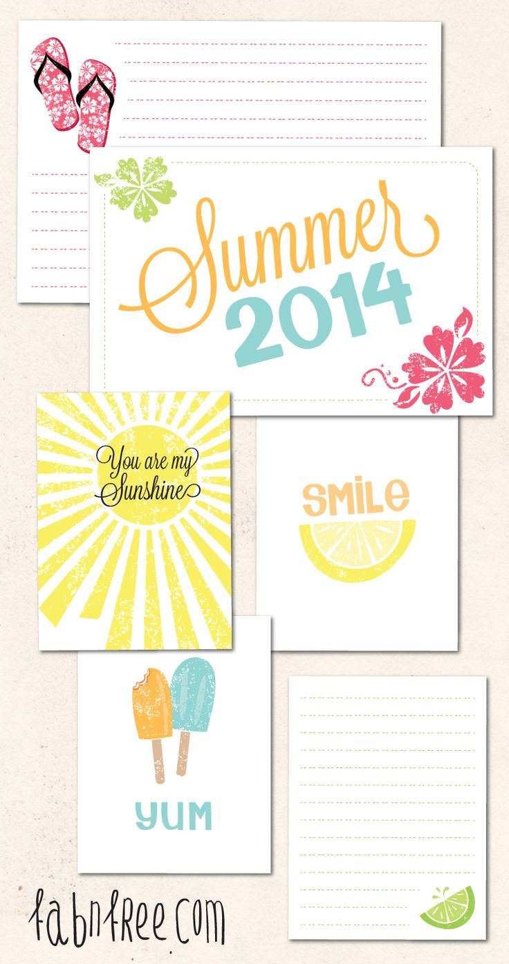 Free Summer Journaling Cards  //  fabnfree.com  #projectlife #printable