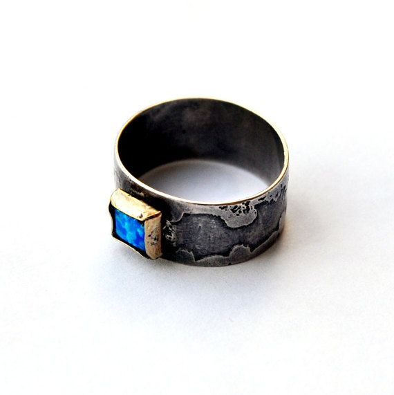 Sterling Silver handmade ring, Gold plated stone frame and Blue Opal stone. US size: 8  Add a matching earrings to your purchase and receive a special discount: https://www.etsy.com/il-en/listing/470662967/silver-heart-earrings-handmade-with  For additional discount, add the Silver Necklace with Square Silver pendent and Opal stone to your order and complete the full set: https://www.etsy.com/il-en/listing/466145508/silver-necklace-o...