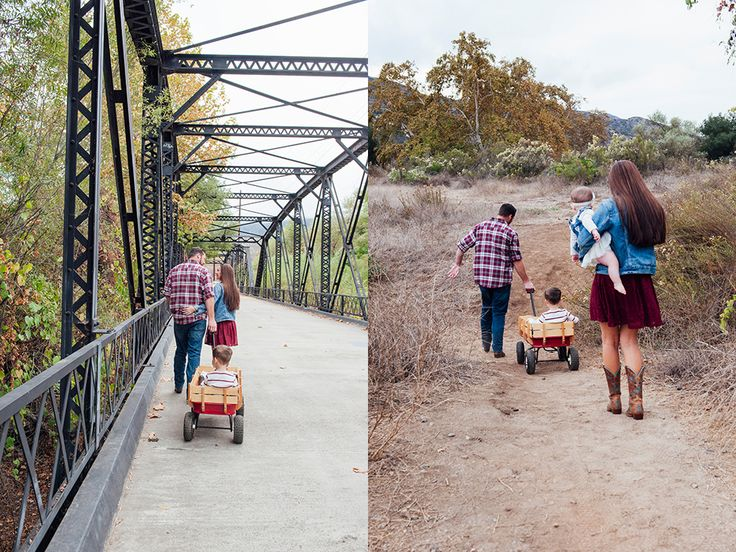 Candid outdoor family photography - Steele Canyon Bridge, Rancho San Diego Fall Family Portrait Session