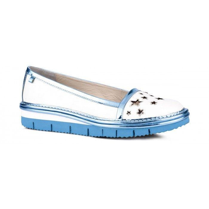 Mocasin Woman Fabi SCARPA DONNA UTHA BIA+SUP.GL.ICE BLU+SUP.GL.ICE BL - Fabi  #shoes #flat #pastels #flatshoes #white #lightblue #decotations #stars #romantic #fairytales #summper #mocassin #loafer @fabishoes