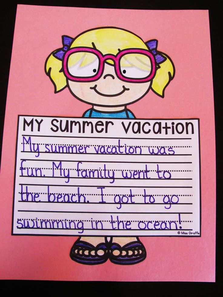 Summer vacation writing crafts that are super easy and cute - boy version too! Great summer themed bulletin board