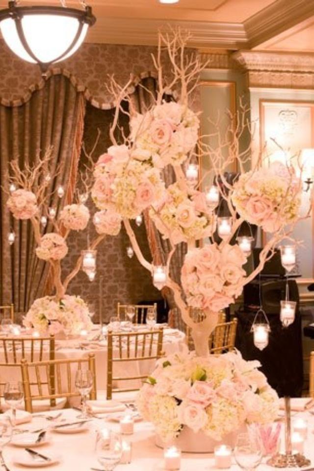 Wedding flower trees, white www.atmospheresfloral.com