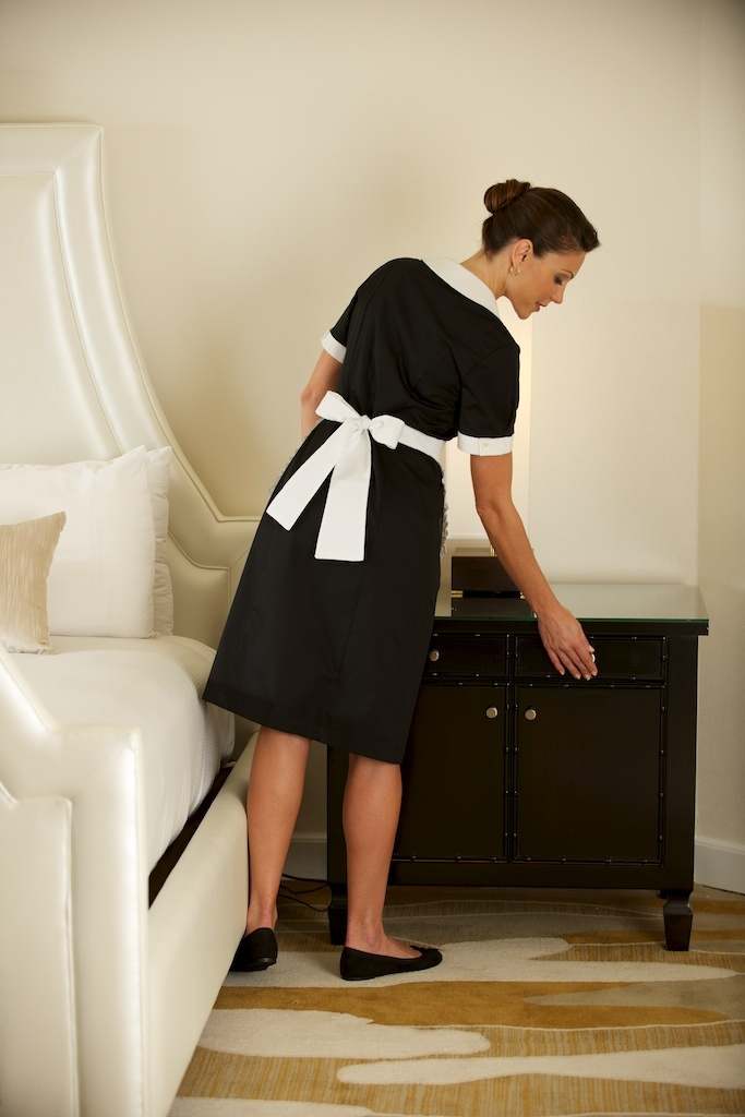 It is essential that his apron is tied properly and neatly. Encourage him to check and retie it frequently.