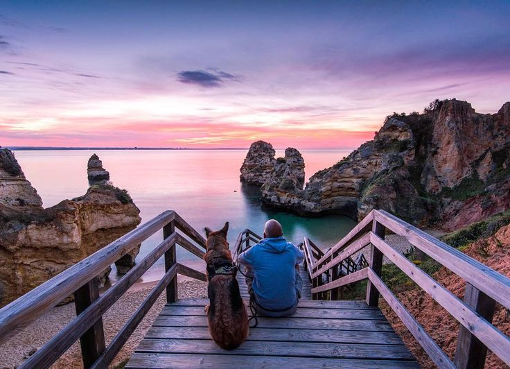 I know nothing about medical marijuana but I know that watching sunrise with the dog is best cure for anything soo another #sunrise with the same #dog #praiadocamilo #ig_algarve_#portugal#lagos#PontadaPiedade#beach#portugal_lovers#portugalalive#algarve#featuremealgarve#potd#instatravel#visitportugal#europe_gallery#landscape#eurotrip#adventurelife#getoutstayout#hikingwithdogs#dogsofinstagram#traveldog#travelphotography#gsd#germanshepherd#alsatian#campingwithdogs