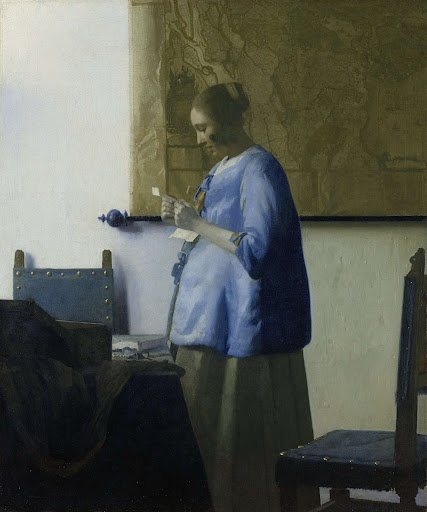 Woman reading a letter, Johannes Vermeer, 1662. In a quiet, private moment, a young woman stands, engrossed in reading a letter. It is morning, and she is still wearing her blue nightrobe. All the other colours are subordinate to its radiant lapis lazuli; yellow and red hardly make an appearance. Vermeer rendered the different effects of the cool light precisely. For example, he was the first artist to try soft grey for flesh, and to paint the shadows on the wall light blue.