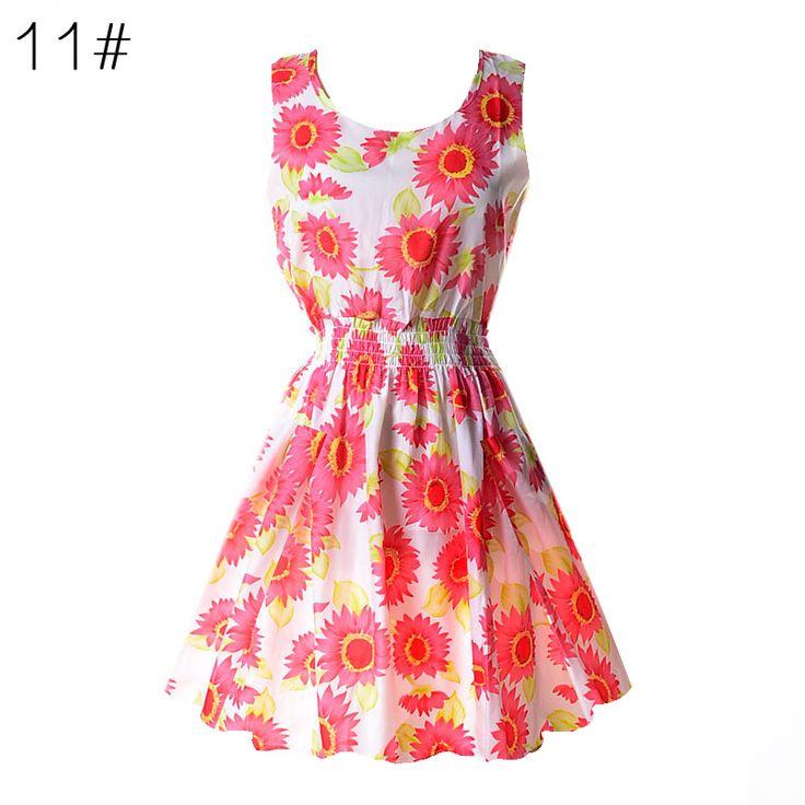 Summer Dress Women Casual Bohemian Floral Sundress Printed Sleeveless Beach Chiffon Dresses Vestidos