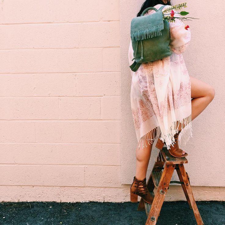 Fringe pistachio green / mint backpack for festival season style