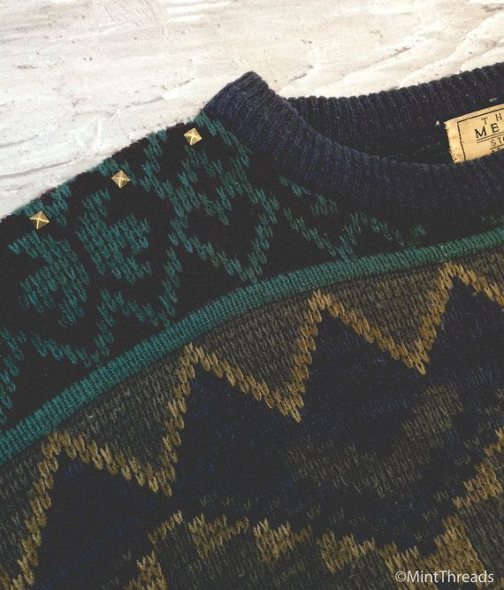 Misterio Vintage gran tamaño suéter tachonado por MintThreads