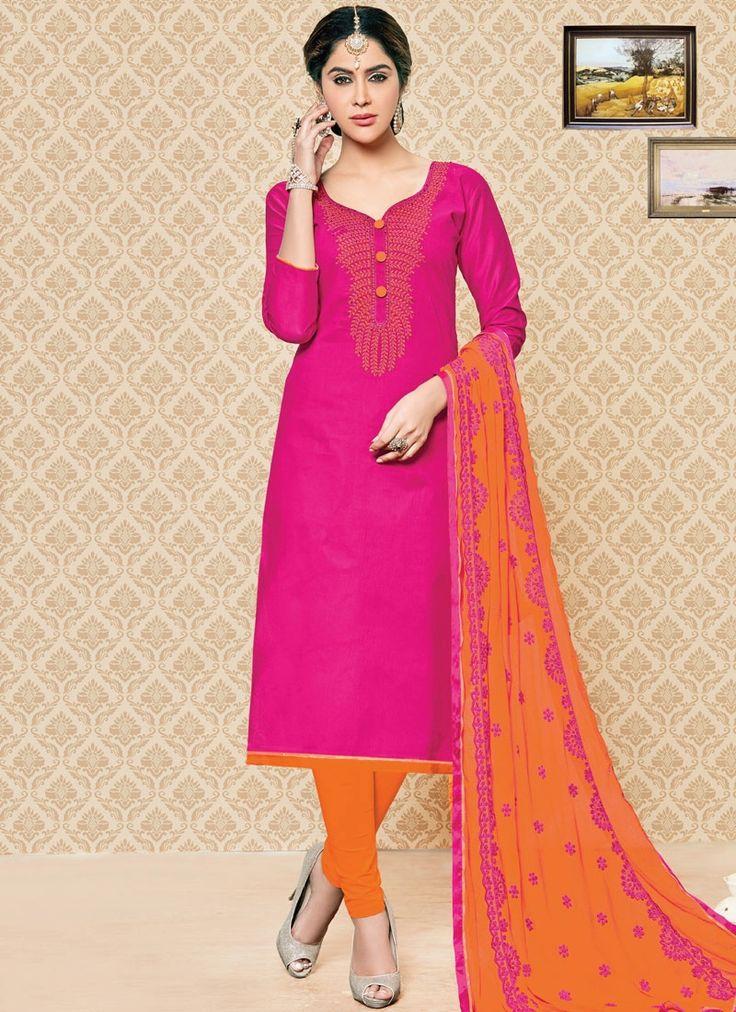 Angelic Hot Pink Cotton   Churidar Suit