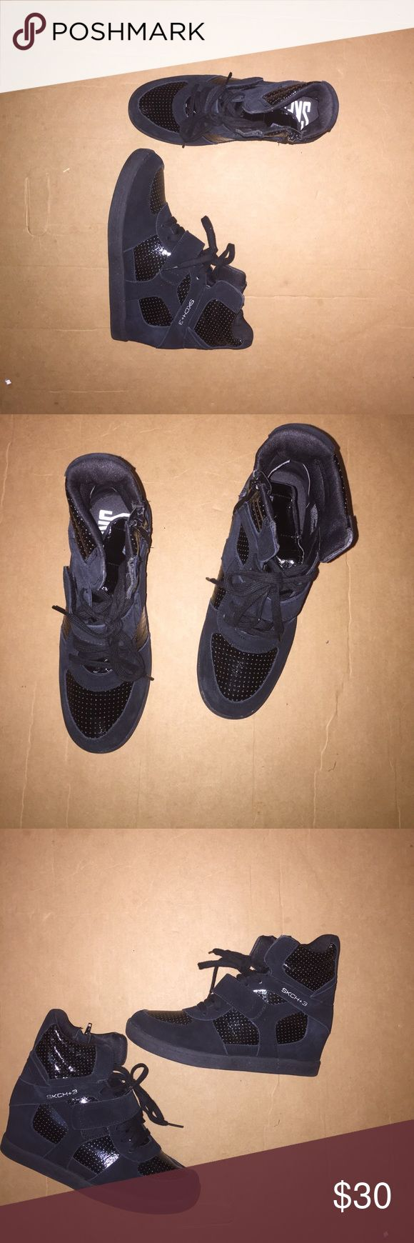 Skechers wedge sneakers Skechers wedge sneakers in excellent condition leather/ synthetic Skechers Shoes Athletic Shoes