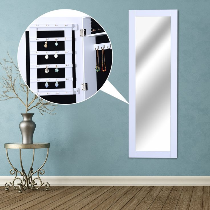 HOMCOM 2 in 1 Schmuckschrank Wandspiegel Spiegelschrank Schmuckkommode L37 x W9.5 x H112 cm