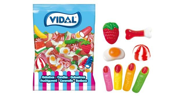 Fantasía Mix, de Vidal Golosinas. Nuevo surtido con piezas de goma brillo: dedos surtidos, fresas silvestres, besos twist, huesos jelly y huevos fritos.
