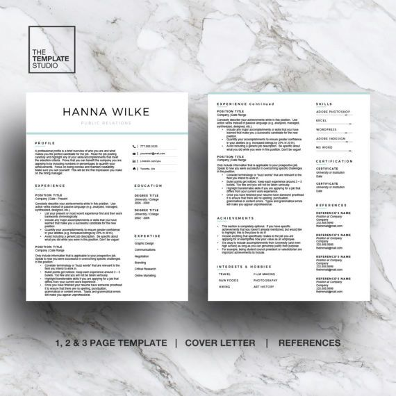 Modern resume template for Word & Pages CV Template 1 2