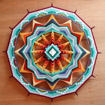 """Amazing """"God's Eye"""". We've all made them out of popsicle sticks and yarn. Here's a grown up version."""