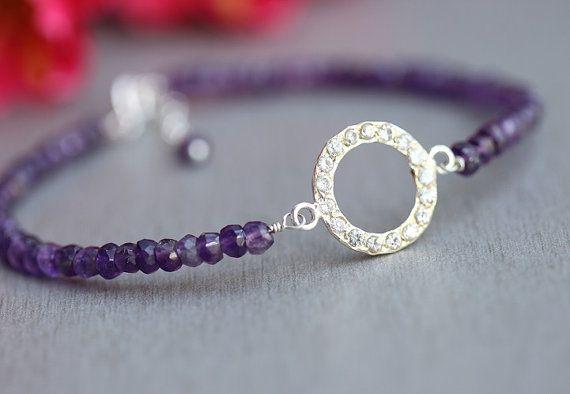 Artisan Amethyst bracelet  beaded bracelet  handmade by Studio1980